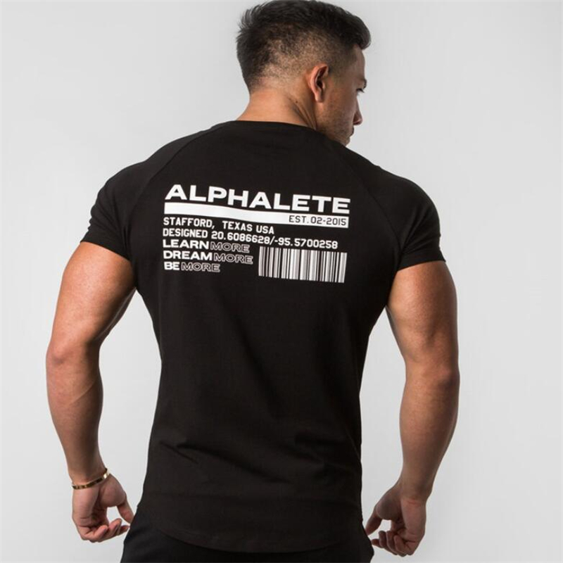 ALPHALETE 2019 Summer New mens gyms T shirt Fitness Bodybuilding Fashion Male Short cotton clothing Brand Tee Tops