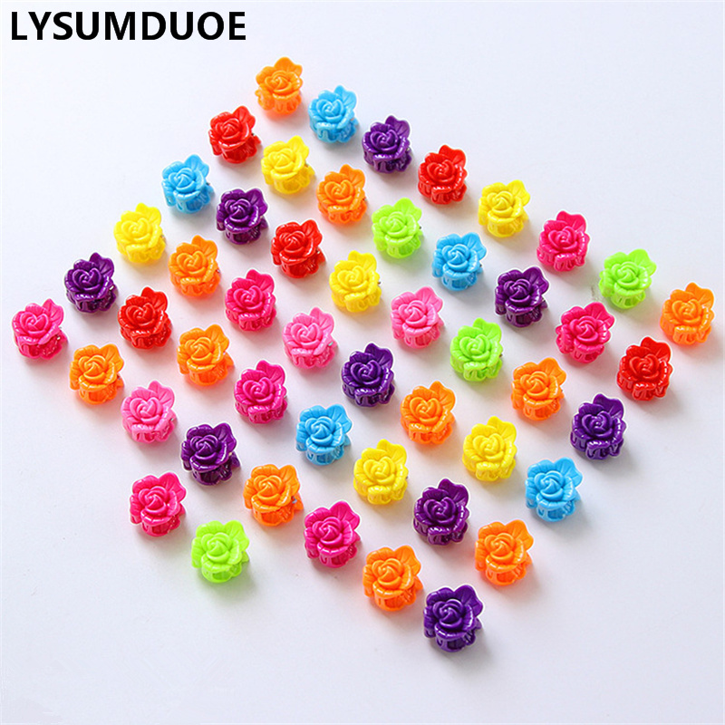 50Pcs/Lot Hair Bows Mini Claw Rose Flower Solid Candy Color Clip BB Hairpin Cute Resin Barrette Plum Claws Girl Hair Accessories