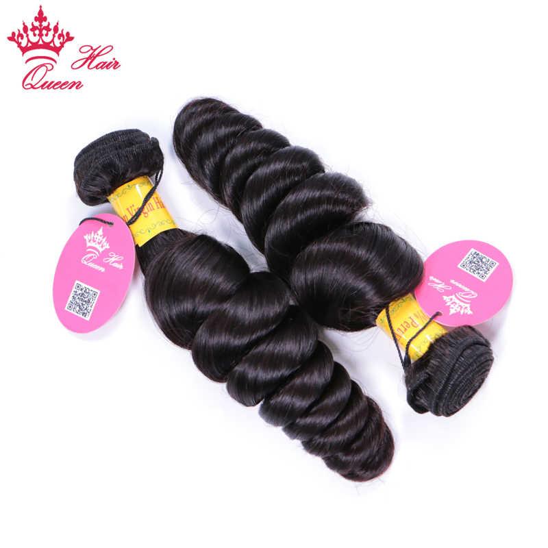 "Pelo de Reina paquetes de onda suelta peruano 4 paquetes/lote 10 ""-28"" Remy extensión de cabello tejido humano paquetes de pelo envío gratis 1B Color"