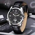 Novos Homens Moda Relógio de Quartzo Pulseira De Couro Relógios Com Caixa de Aço Inoxidável Data de Exibição relogio masculino R6182