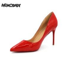 Size 34-43 Genuine Leather 8cm 10cm 12cm Women High Heels Classical Women Dress Pumps Shoes