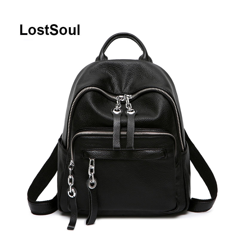 LostSoul Genuine Leather Backpack Female Luxury Designer Bags Women Famous Brand Women Bags Solid Black Soft Mochila Feminina
