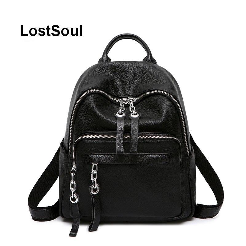 LostSoul véritable sac à dos en cuir femelle de luxe designer sacs femmes célèbre marque femmes sacs solide noir doux mochila feminina