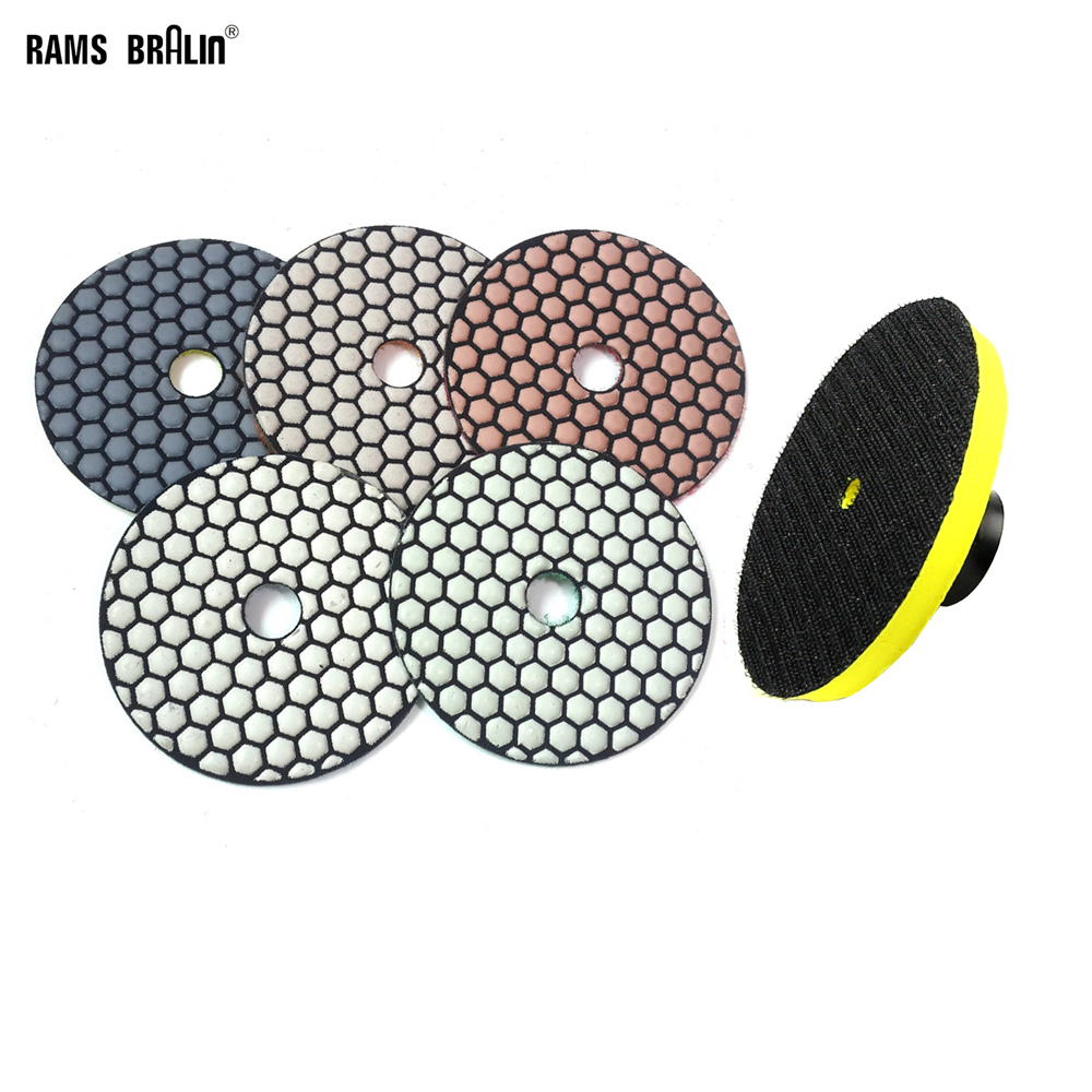 "5 Pieces + M14 Holder 4"" Premium Qulity Diamond Round Flexible Dry Polishing Pad Grinding Disc For Marble Stone Glass Grinding"