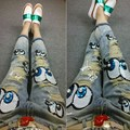 The European leg of the new spring and summer 2016 fashion worn heavy Beaded Skinny Jeans Girl feet eyes glitter