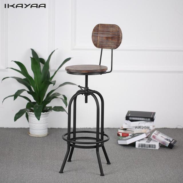 IKayaa Industrial Style Bar Stool Height Adjustable Swivel Chair Pinewood  Top With Backrest Bar Furniture US
