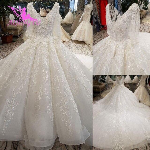 AIJINGYU gelinlikler kanada satın lüks evlilik Online türkiye iki bir nişan seksi peçe düğün gelinlik mağazaları