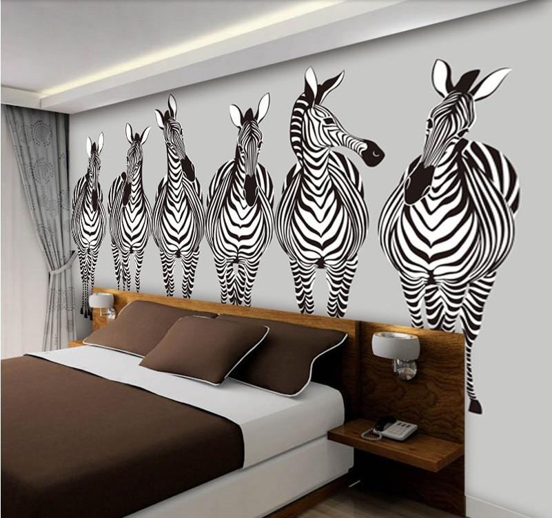 grote zwarte witte zebra beeld foto muurschildering behang voor ...