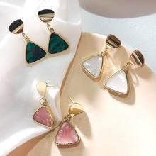 купить Geometric Triangle Drop Earrings For Women 2019 Personality Marble Statement Fashion Earrings Jewelry онлайн