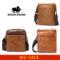 Bison Denim Designer High Quality Genuine Leather Shoulder Bag Messenger Bag Men Brown Leather Backpack