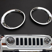 1Pair Silver Front Head Light Headlamp Cover Trim Ring Decoration For Patriot 2011 2015 Car Styling