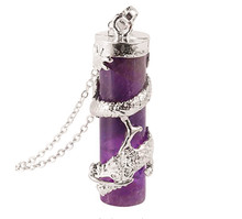 FYJS Unique Jewelry Silver Plated Chinese Dragon Wrap Cylinder Pendant Natural Purple Amethysts Stone Necklace fyjs unique jewelry silver plated rhinestone flower wrap natural purple amethysts stone water drop pendant