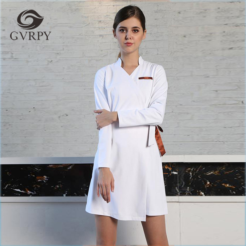 Nouveau col en v à manches longues femmes médical manteau robe infirmière uniforme médical gommage dentelle vêtements blanc laboratoire manteau hôpital médecin vêtements