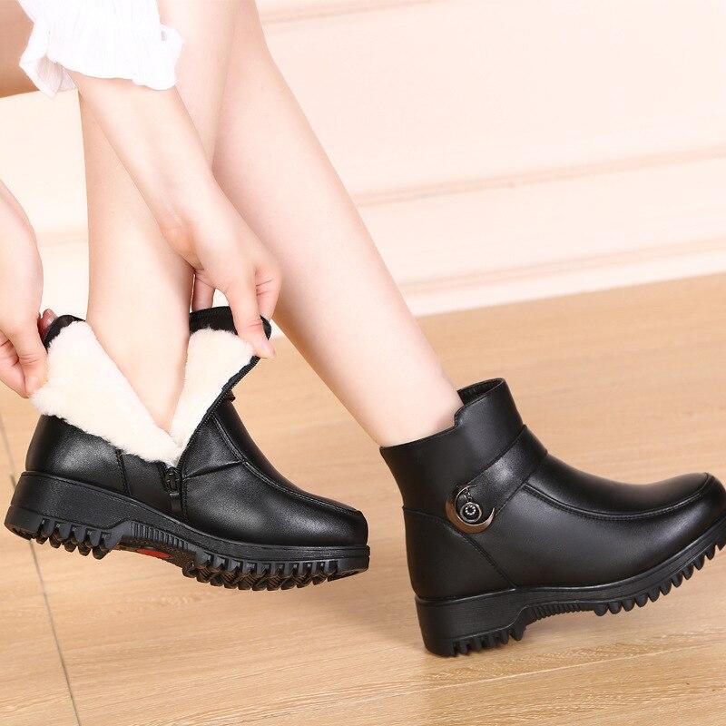 Zxryxgs Invierno Nuevas Vaca Zapatos Marca Las Lana Botas Cuero Mujeres Piel Cuñas Negro Nieve Mujer Moda De 2018 Una rg1rq6xR
