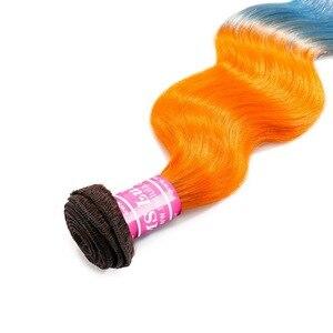 Image 3 - MS Lula Brazilian Body Wave 3 Bundles With 4x4 Closure Ombre Orange&Blue Remy Human Hair Weave Free Part Closure Hair Extension