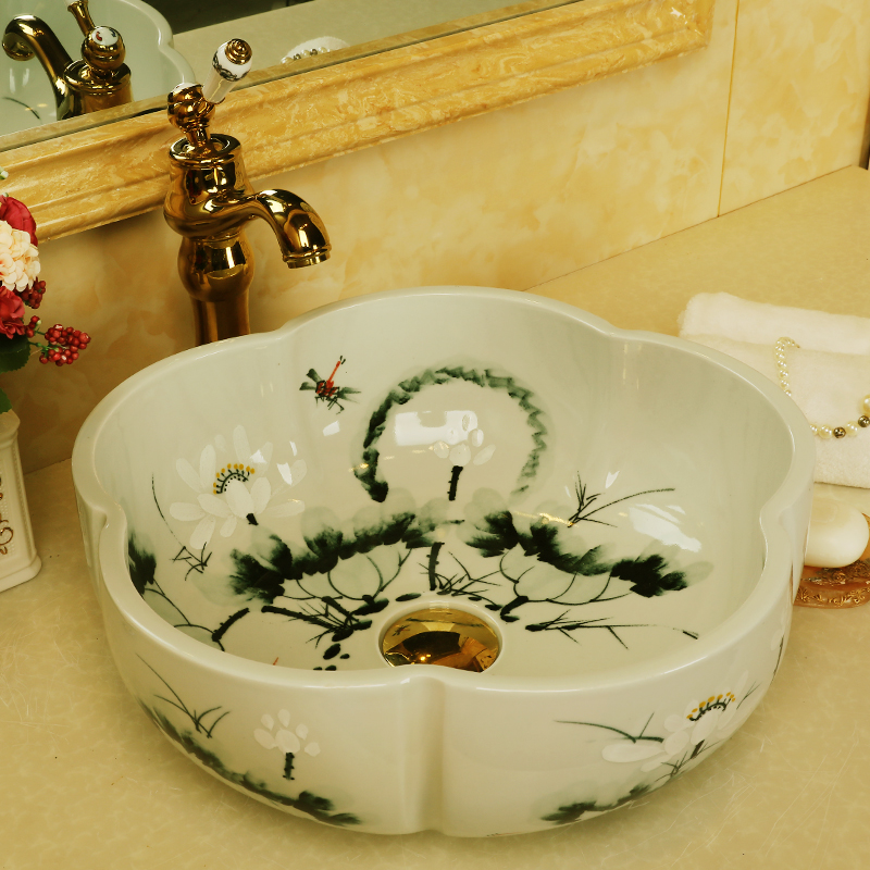 China Handmade Lavabo Washbasin bathroom sink bowl countertop Flower Shape Ceramic wash basin bathroom sink (9)