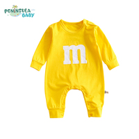 New Brand Baby Boys Girls Clothes Spring Autumn Cotton Letter M Smiling Face Printed Infant Rompers