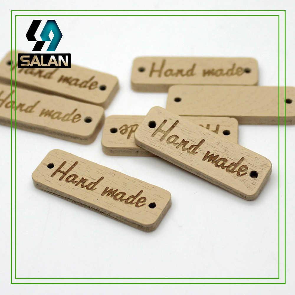 หุ้นมือทำเลเซอร์ไม้ฉลากสำหรับมือทำงานปุ่มไม้เสื้อผ้าจักรเย็บผ้าDIYแท็กแท็กสำหรับของขวัญหัตถกรรม
