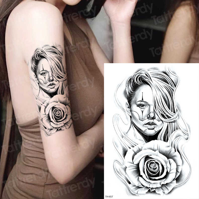 Gothic Tattoo Women Waterproof Temporary Tattoos For Woman Sexy Tatoo Sleeve Black Face Personalized Tattoo Fake Sheet Sketches Aliexpress
