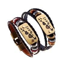 Handmade Braided Charm Genuine Leather Lover Bracelet Women Men Fashion vintage Bracelets Couple Bangles Creative Jewelry