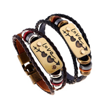 Handmade Braided Charm Genuine Leather Lover Bracelet Women Men Fashion vintage Bracelets Couple Bangles Creative Jewelry FS088