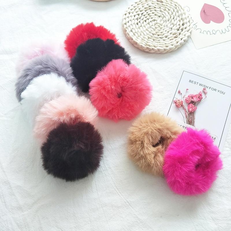 Милые эластичные резинки для волос для девочек, искусственный мех, резиновое эластичное кольцо, веревка, пушистый галстук, аксессуары для волос, меховые резинки, повязка на голову