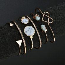 1 set of marble pattern retro geometric round  6 bracelet letters love open jewellery direct