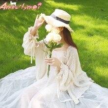 Summer Women Shirt Japanese Style Mori Girl Sweet Bow Lacing Hollow out Lace Cardigan Blouse Kawaii Lolita Princess Shirt Tops