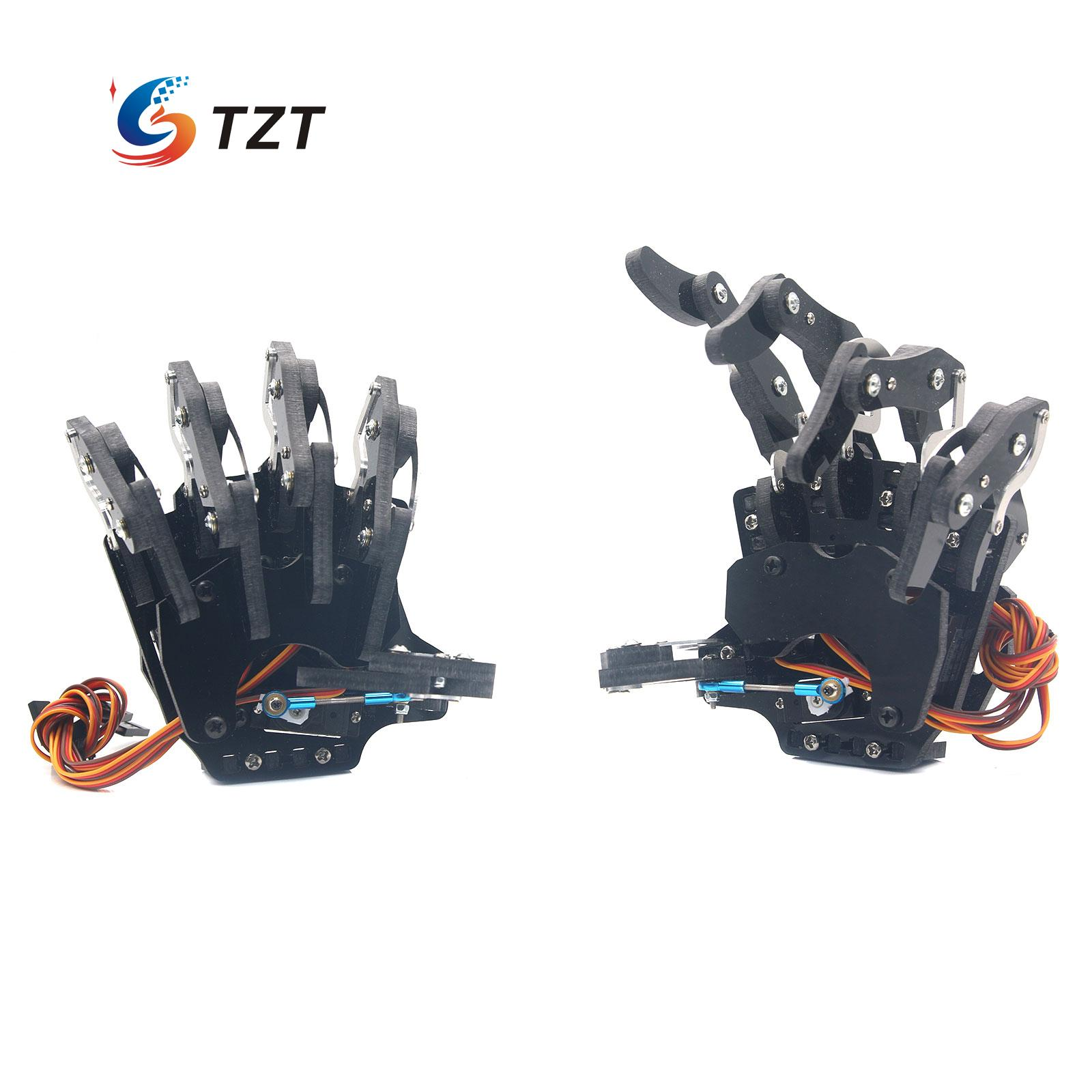 Mechanical Claw Clamper Gripper Arm Five Fingers Right & Left Hand with Servos for Robot DIY Assembled new 1pc right left hand wooden model sketching drawing jointed movable fingers mannequin w15