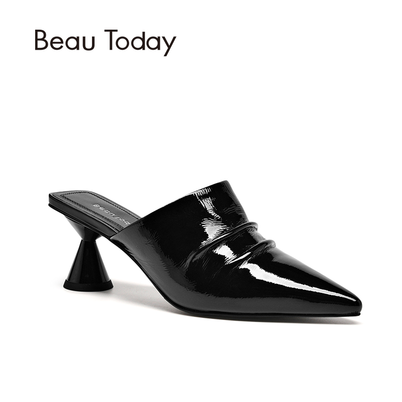 BeauToday Women Mules Top Brand Patent Leather Pointed Toe High Heel New Arrival Fashion Lady Pumps Handmade 31020
