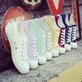 O novo colégio branco sapatas de lona primavera e no verão feminino Coreano sapatos brancos mulheres estudantes sapatos casuais