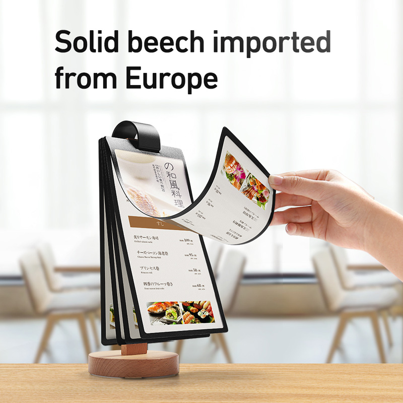 100*200mm Page-turning Sign Holder Wood PVC Material Bar Cafe Restaurant Table Menu Holder