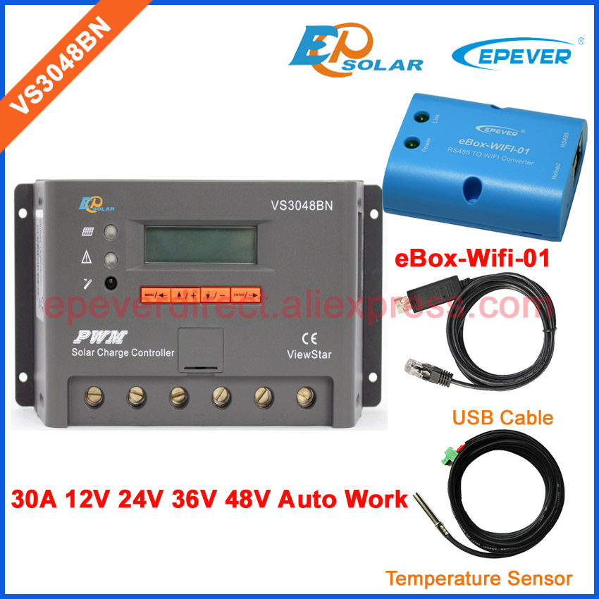 EPEVER/EPSolar 30A 30amp VS3048BN solar controller charger 12v with USB cable connect PC and temperature sensor cable wifi BOX epsolar epever tracer5210bp usb cable connect pc software solar panel tracking controller waterproof ip67 degree