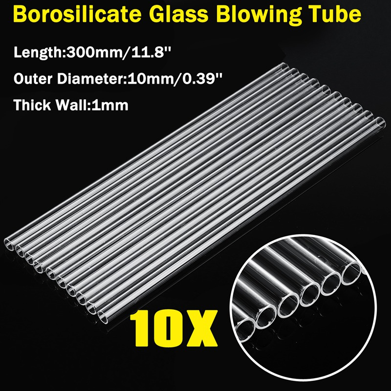 Kicute 10Pcs 11.8 Inch 300mm OD 10mm 1mm Thick Wall Borosilicate Glass Blowing Tube Transparent Glass Tubes Lab Supplies Pipette