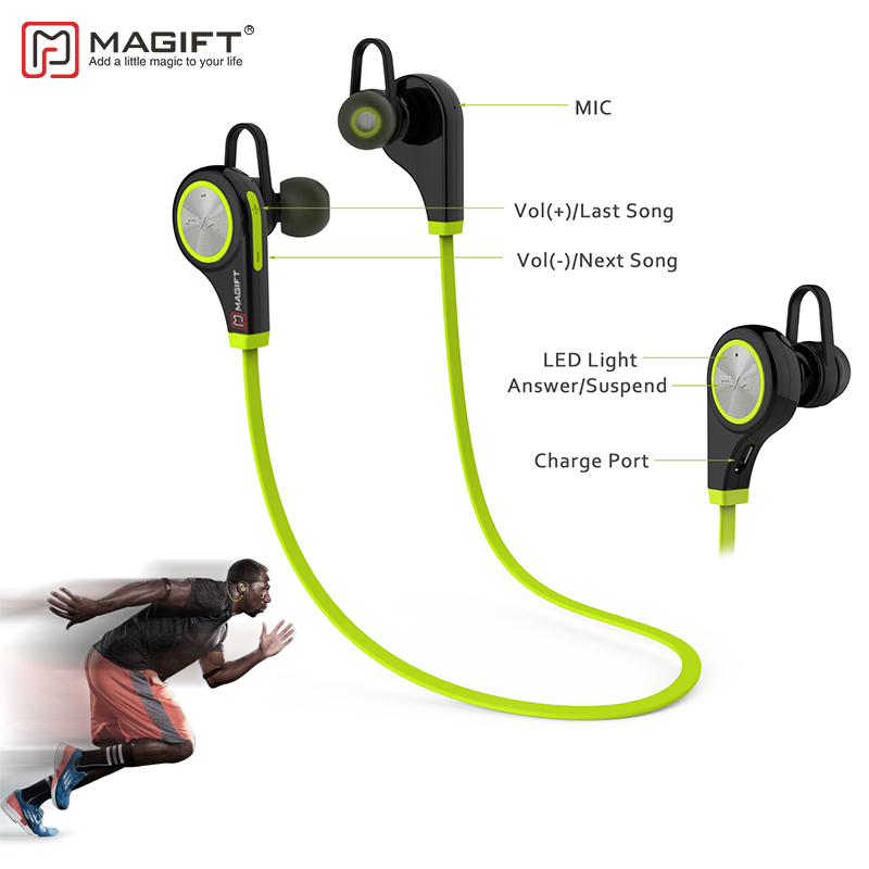 Magift6 Bluetooth Wireless Earphone With Micphone Handsfree for Smartphone Sports Noise Cancelling Stereo Bluetooth Earphones 2016 white and black joway h 08 wireless noise cancelling voice control sports stereo bluetooth v4 0 earphones with microphone