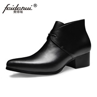 High Quality Formal Dress Man Handmade Riding Shoes Genuine Leather Pointed Toe Lace up Med Heels Cowboy Men's Ankle Boots SS58