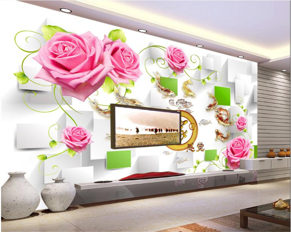 beibehang 3d wallpaper Warm Aesthetic Decorative Wallpaper Box Rose Vine House Interior Bedroom TV Wall Background wall paper