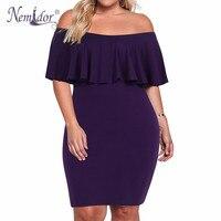 Nemidor Women Elegant O neck Short Sleeve Flounce Layered Ruffle Bodycon Dress Plus Size 8XL 9XL Midi Vintage Party Dress