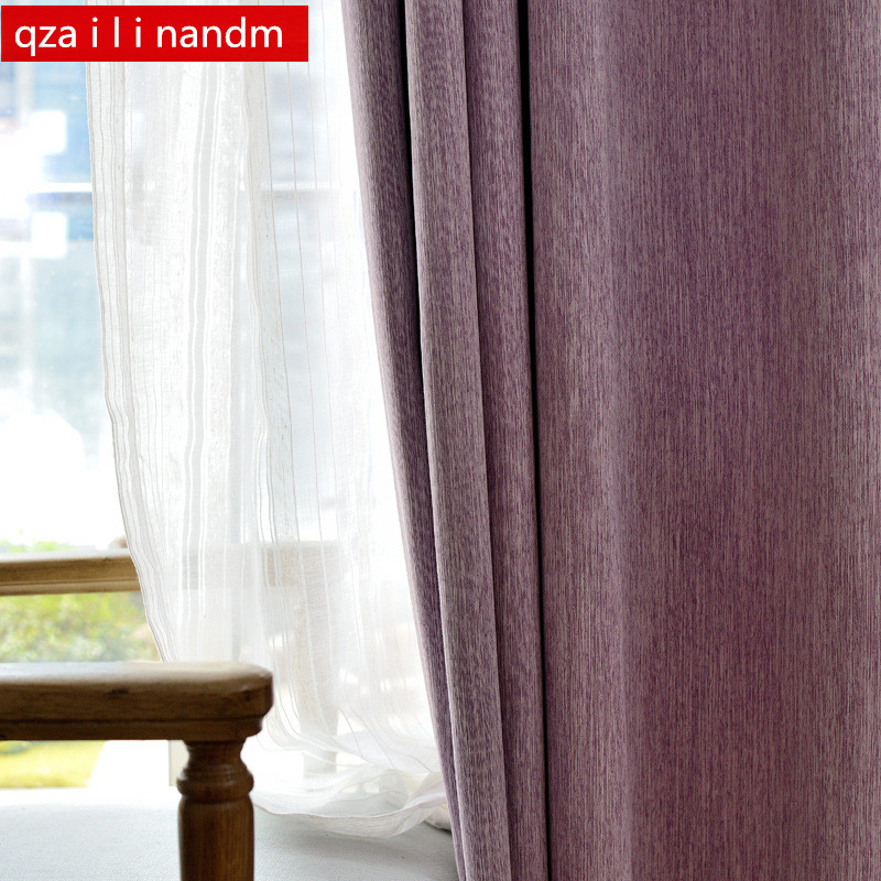 8 color Finish Product Linen Thicken 1000g Thermal Insulated Sound Insulation Blackout Curtains,Modern Living Room Curtains