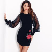 Embroidery Bodycon Mini Dress Mesh Women Dress Autumn Long Sleeve O Neck Sexy Dresses Elegant Evening Party Vestidos WS3149V