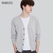 Markless вязаный мужской свитер рами с хлопком кардиганы осень длинный рукав сплошной цвет v-образный Вырез Вязание sueter hombre MSA7721M
