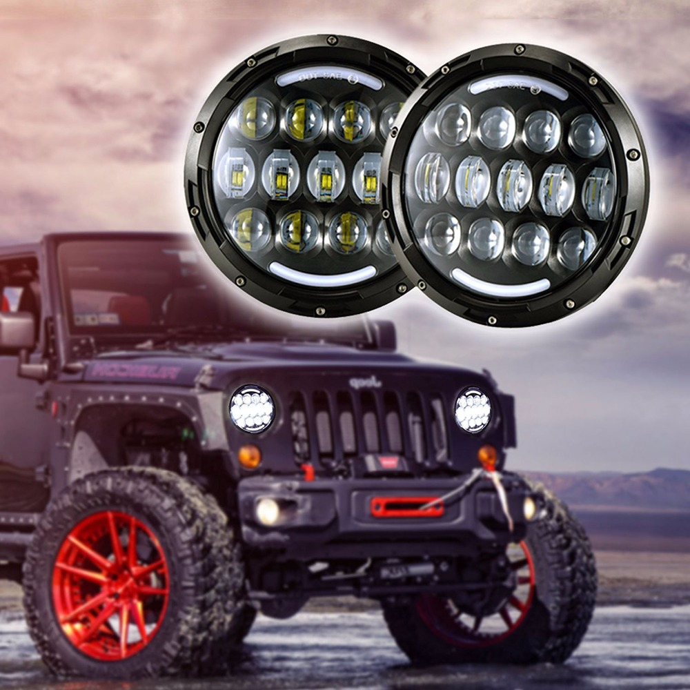 Pair 105W Motorcycle Headlight H4 H13 DRL with turn signal lights for Jeeps Wrangler JK Hummer 7 INCH LED Headlamp 1 pair 7 inch rectangular led headlight