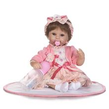 Nicery 18inch 45cm Reborn Baby Doll Magnetic Mouth Soft Silicone Lifelike Girl Toy Gift for Children Christmas Pink Coat Babys