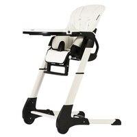 CH תינוק 4 ב 1 עור מושב תינוק כיסא אוכל  פי תינוק להאכיל כיסא עם PP פלסטיק מגש  לבן תינוק כיסא גבוה