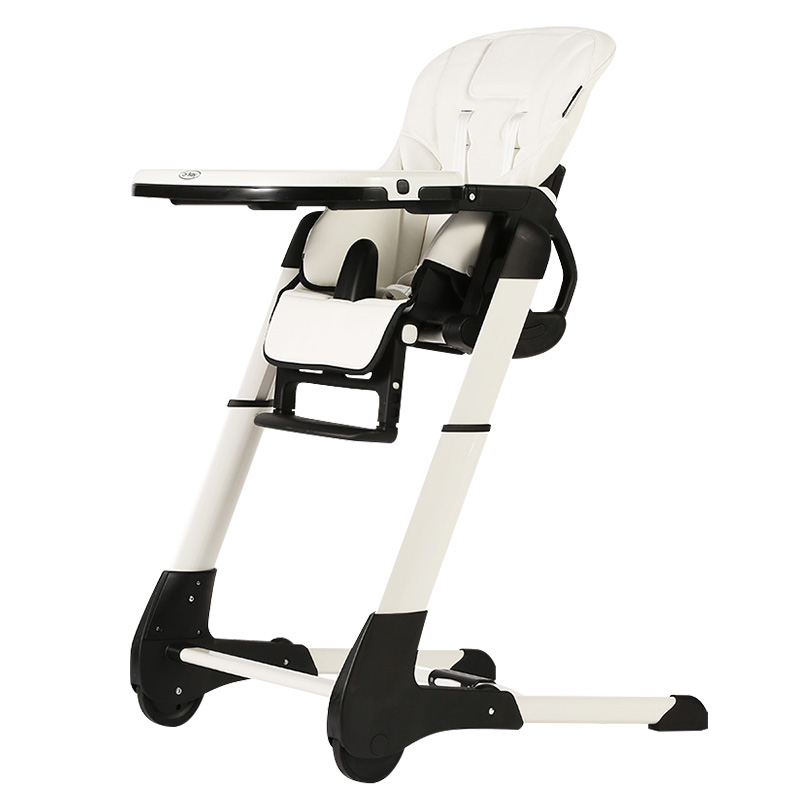 CH Baby 4 in 1 Leather Seat Baby Dinning Highchair, Fold Baby Feed Chair with PP plastic tray, white baby High chair