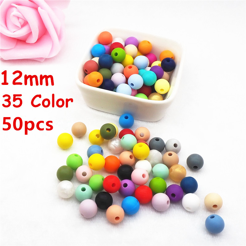 Chenkai 50pcs Silicone Beads 12mm Eco-friendly Sensory Teething Necklace Food Grade Mom Nursing DIY Jewelry Baby Teethers