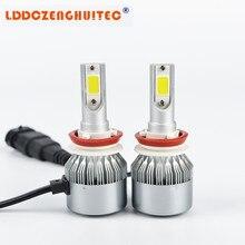 LDDCZENGHUITEC C6 светодиодный фар автомобиля все в одном авто лампы H1 H3 H7 H11 H4 H13 9004 9005 9006 9007 светодиодный налобный фонарь комплект