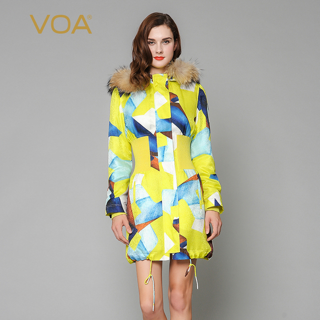 Cheap VOA yellow  raccoon fur collar detachable cap type coat elasticity waist drawstring cotton-padding jacket M3259