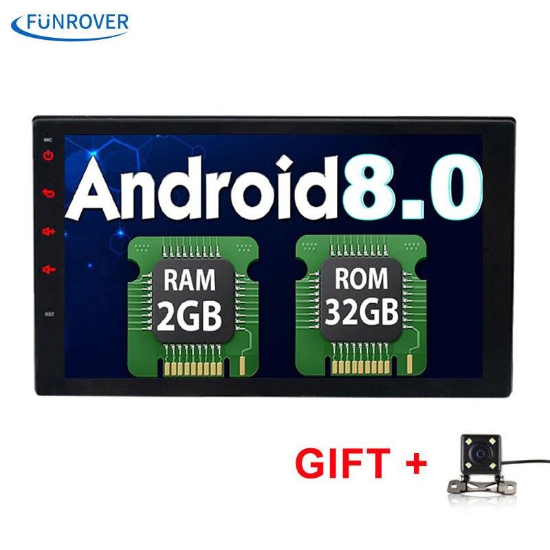 FUNROVER 2 Din 7 Polegada No traço Rádio Do Carro dvd Universal jogador de navegação gps bluetooth Android 8.0 2G + 32G de vídeo rádio RDS wi-fi