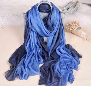 Image 3 - Fashion  Luxury gradient scarves  Soft linen silk plain shawls hijab spring big size spring muslim headband wrap scarves